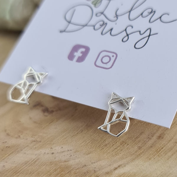 Origami Cat - Sterling Silver Stud Earrings