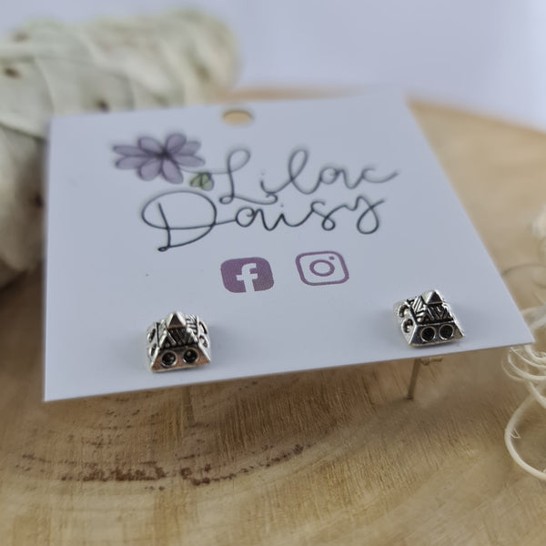 Pyramid Sterling Silver Stud Earrings