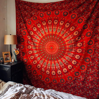 Red Blaze Mandala Throw