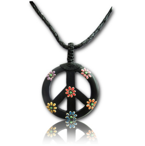 Hand painted Narra Wood Peace Pendant