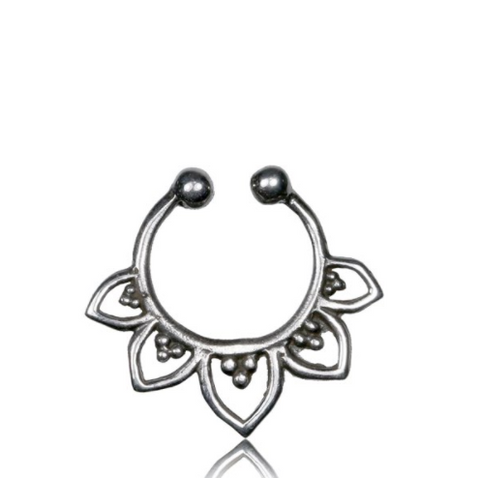 925 Tribal Silver Septum Ring - Clip On