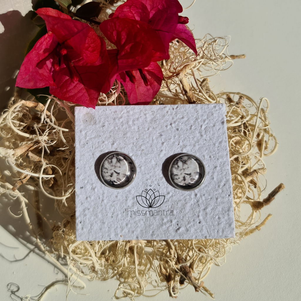 Grey Floral Studs - Silver