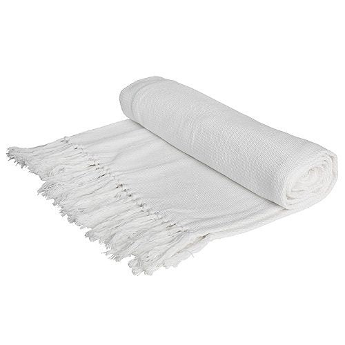 Solid White Woven Yarn Throw