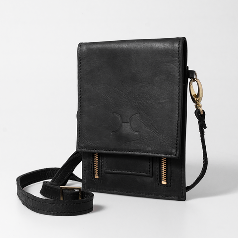 Urban Cellphone Sling - Black - Gunmetal Hardware