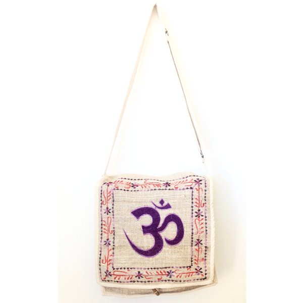 Hemp Embroided Om Mail Bag - missmantra