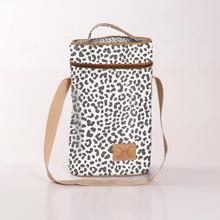 Wine Cooler Double Carry Bag - Laminated Fabric - Cheetah - White