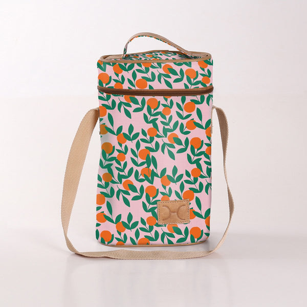 Wine Cooler Double Carry Bag - Laminated Fabric - Its All Peachy - Bloom