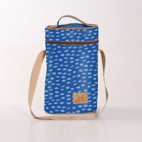 Wine Cooler Double Carry Bag - Laminated Fabric - Seeds - Sky Blue