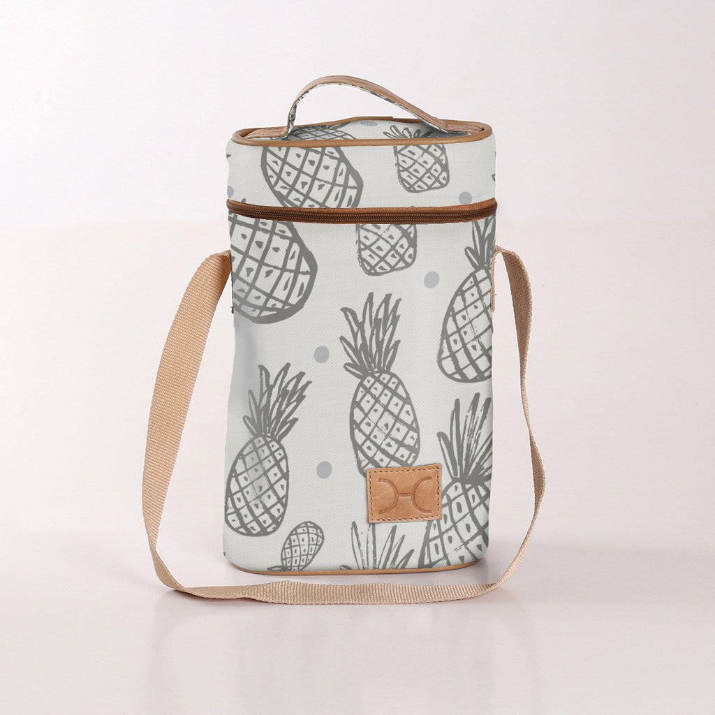 Wine Cooler Double Carry Bag - Pineapple - Grey - Eco Fabric