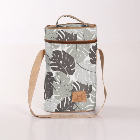Wine Cooler Double Carry Bag - Leaf - Grey - Eco Fabric