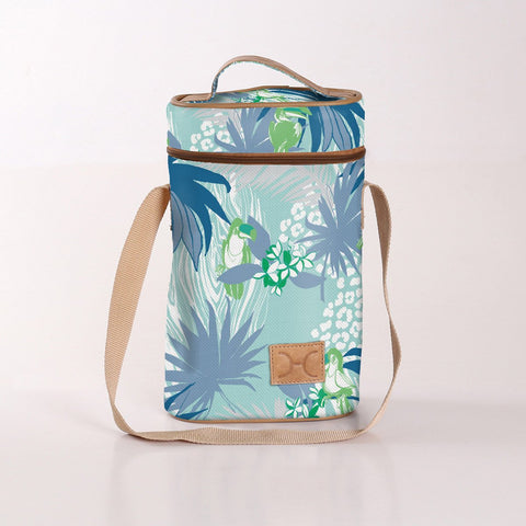 Wine Cooler Double Carry Bag - Toucan - Blue - Eco Fabric