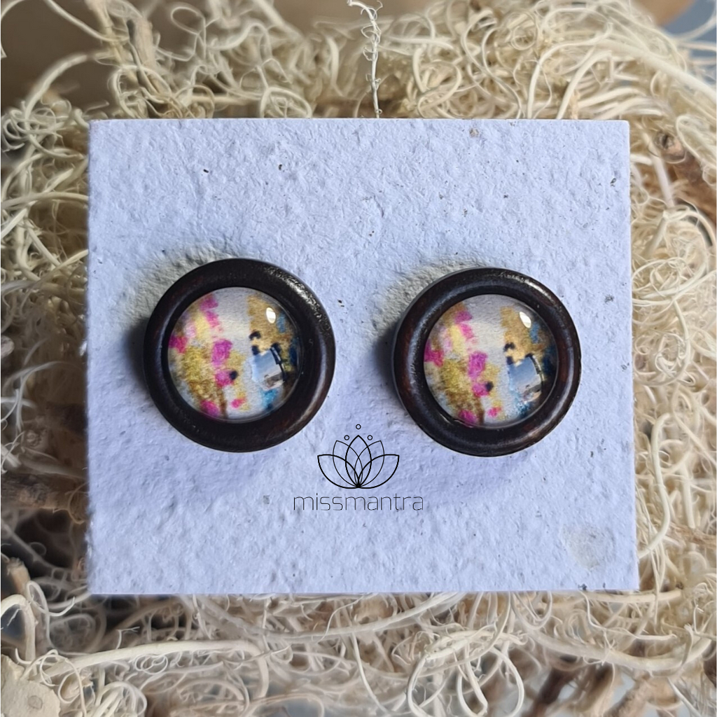 Abstract 1 - Wooden Dome Earrings