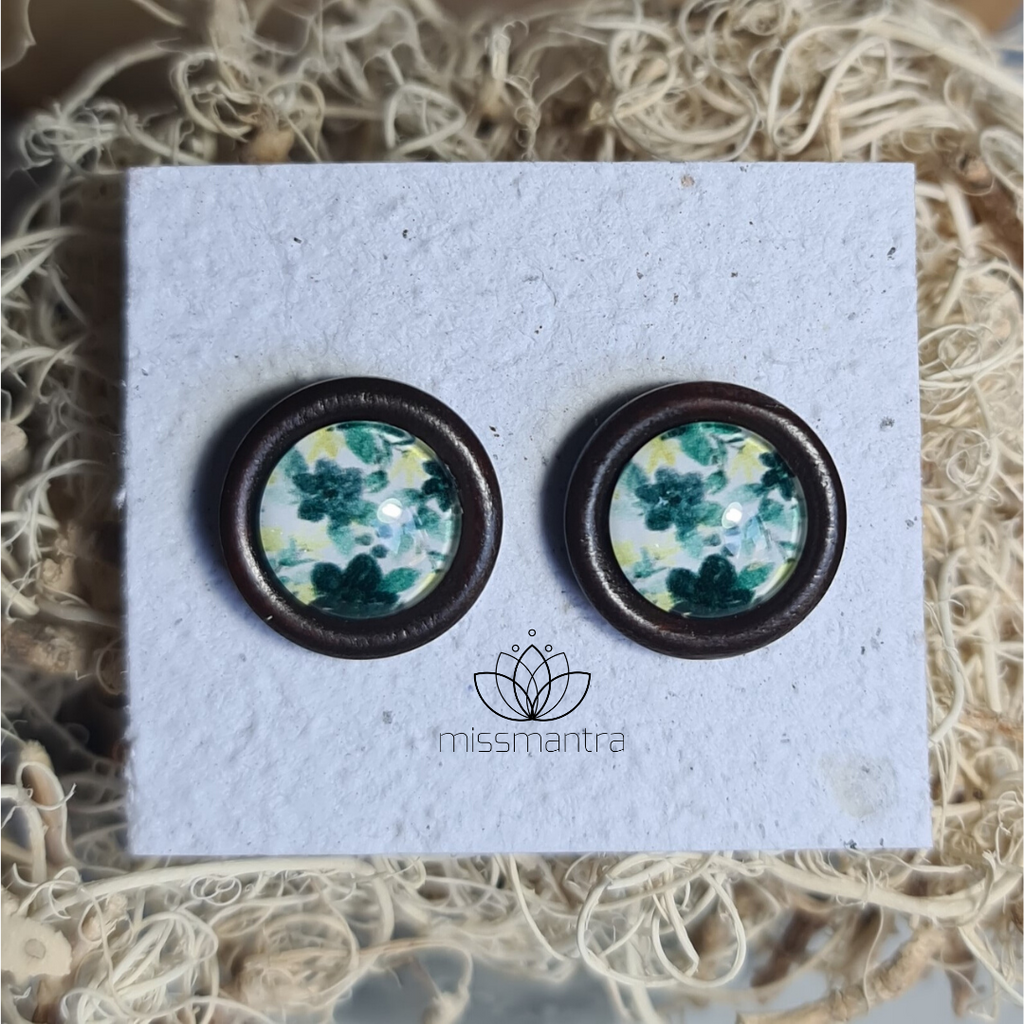 Flower 2 - Wooden Dome Earrings