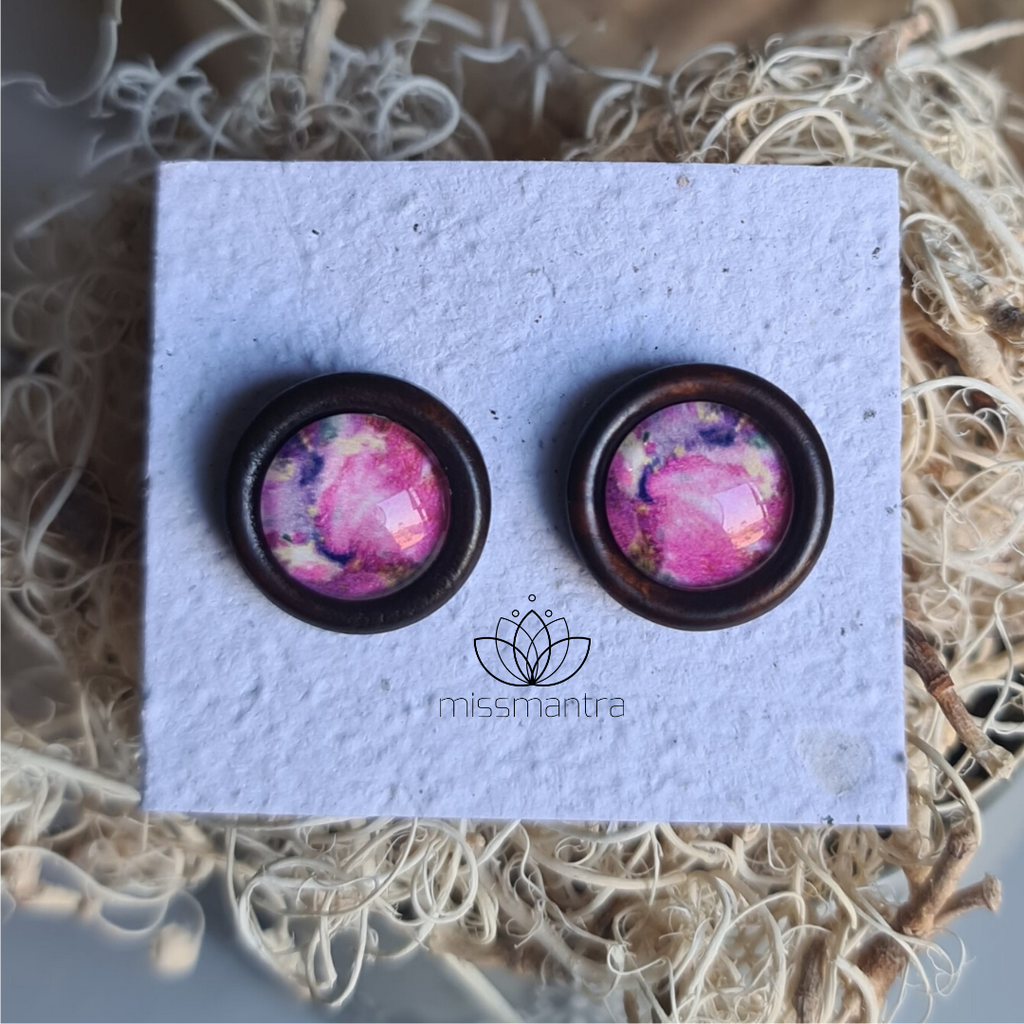 Purple Marble - Wooden Dome Earrings
