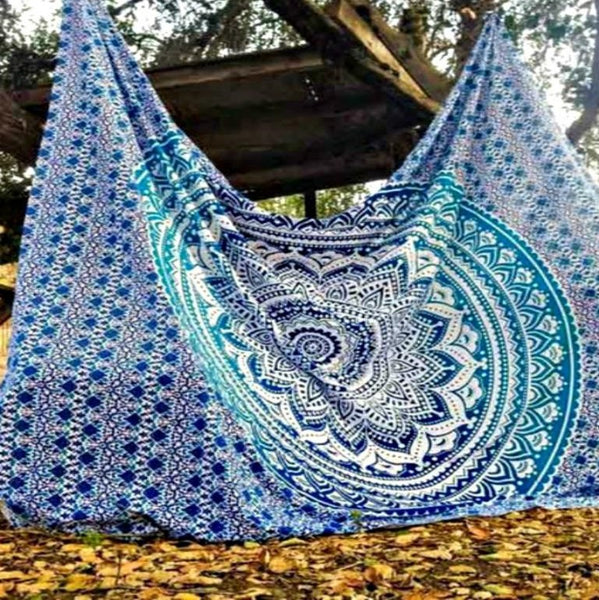 Ombre Blue Mandala Throw
