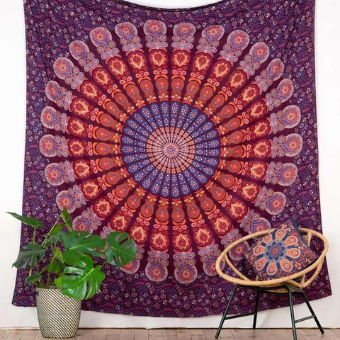 Merlot Peacock Mandala Throw