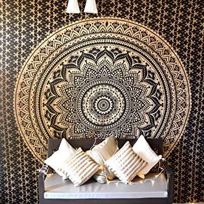 Black and Gold Mandala Throw