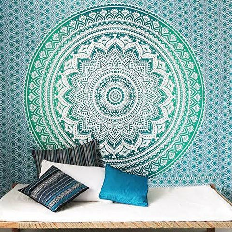 Green Ombre Mandala Throw