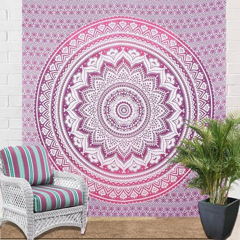 Pink/Purple Ombre Queen Mandala Throw