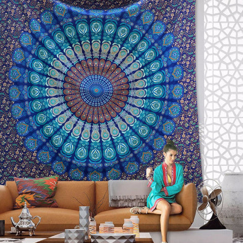 Bohemian Blue Mandala Throw