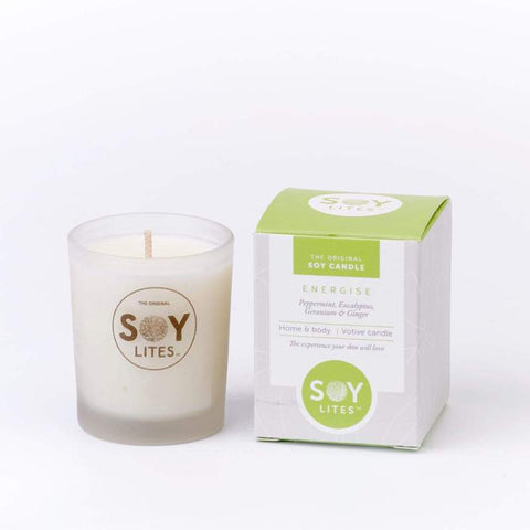 ENERGISE VOTIVE CANDLE 70ML WITH SPEARMINT, PEPPERMINT, EUCALYPTUS, GERANIUM & GINGER