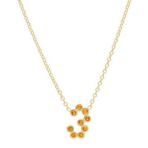 citrine number necklace