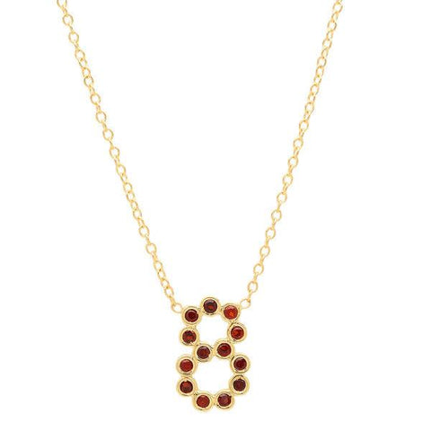 garnet birthstone number necklace