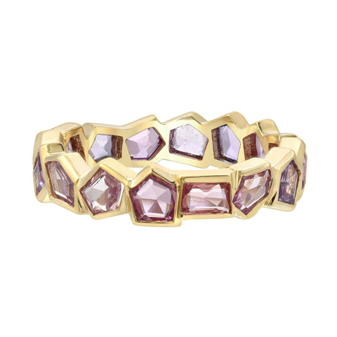 geometric gemstone eternity band
