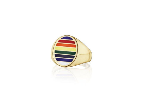 Jessica Biales Classic Signet Ring Rainbow Striped