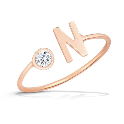 Kelly Bello Mini Letter Diamond Ring