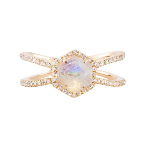 Luna Skye Double Band Moonstone Hex Ring