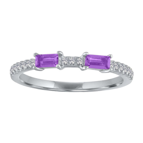 My Story Ida Double Gemstone Baguette Ring Amethyst