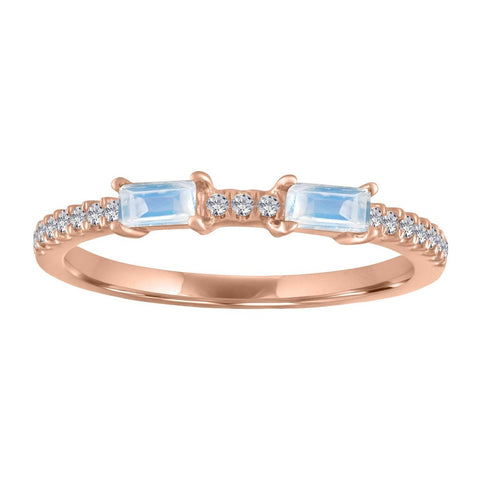 My Story Ida Double Gemstone Baguette Ring Moonstone