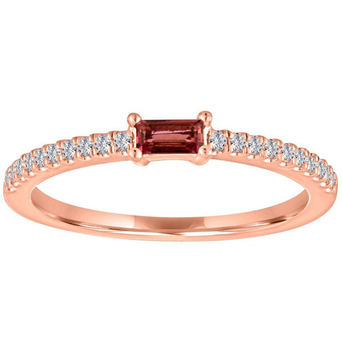 garnet gemstone baguette ring