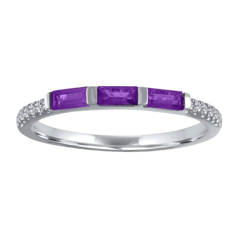 My Story Julie Triple Gemstone Baguette Ring in Amethyst