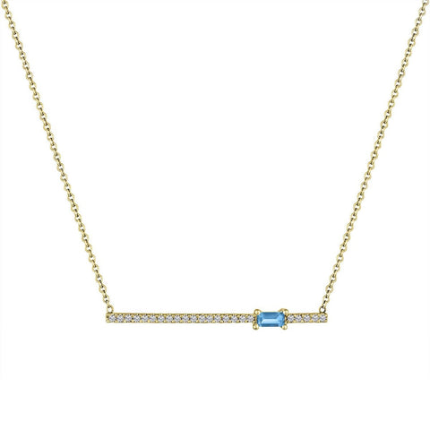 My Story Kate Diamond Gemstone Necklace Blue Topaz