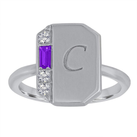 My Story Peggy Gemstone Signet Ring Amethyst