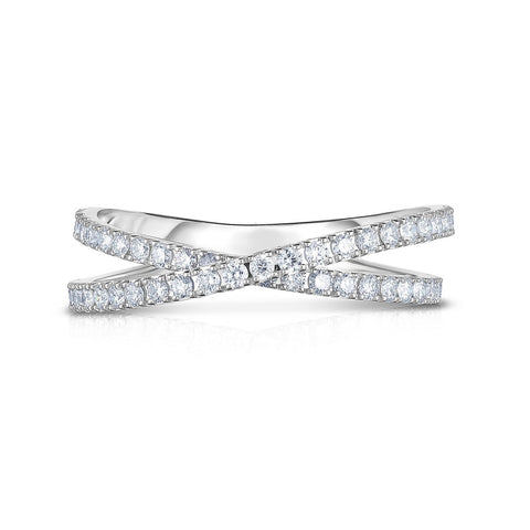 criss cross diamond eternity wedding band