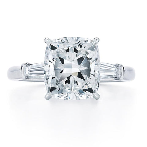 cushion cut tapered baguette side stones engagement ring