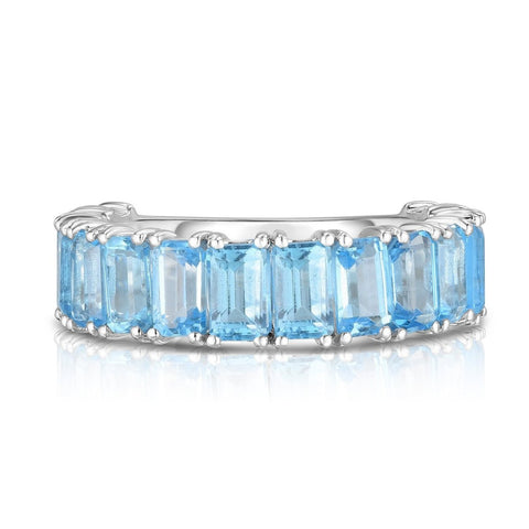 Ring Concierge Emerald Cut Blue Topaz Band