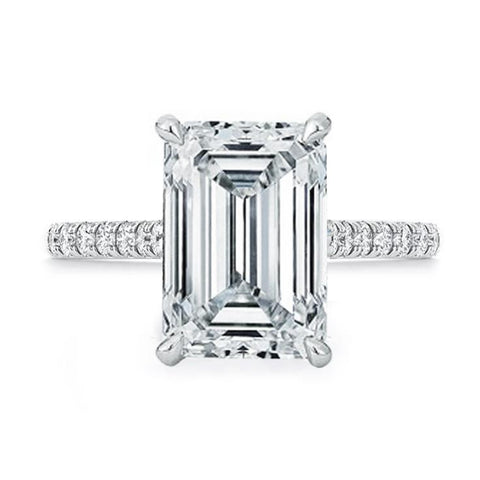 Ring Concierge Emerald Cut Pavé Band Engagement Ring