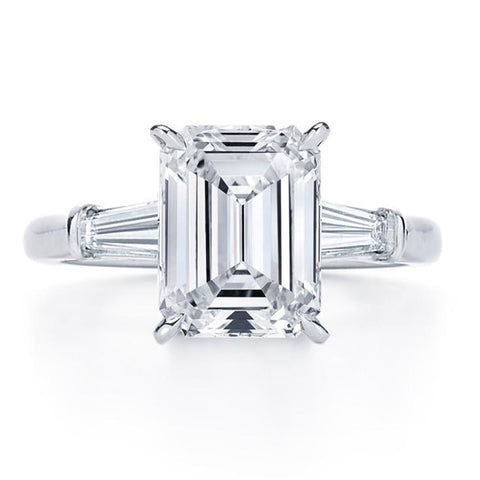 emerald cut with tapered baguette side stones engagement ring