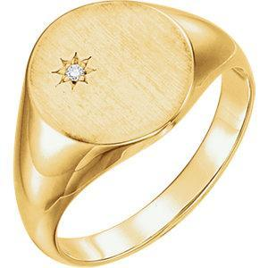 Ring Concierge Men's Starburst Diamond Signet Ring