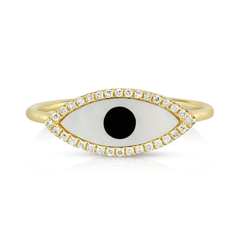 evil eye black white ring