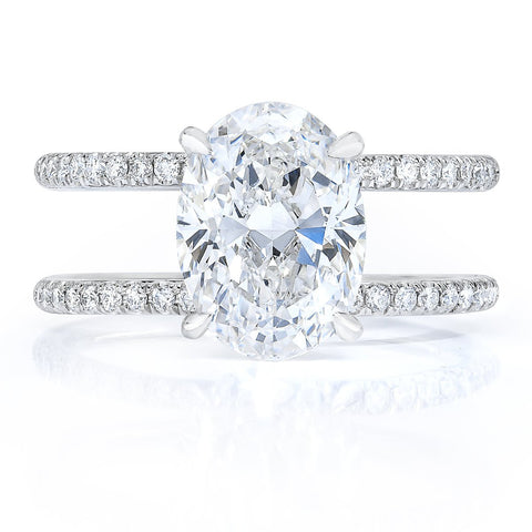 oval double band engagement ring
