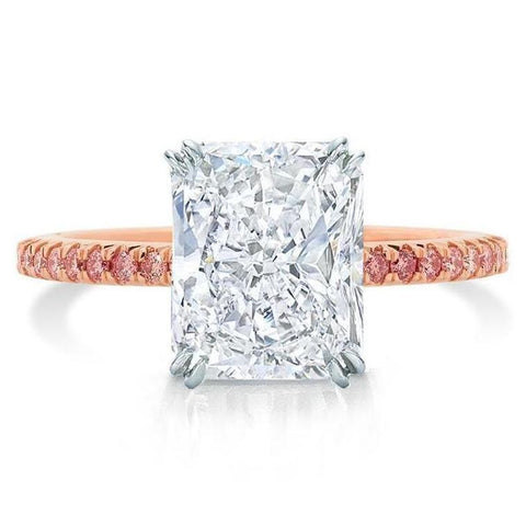 pink pave band engagement ring