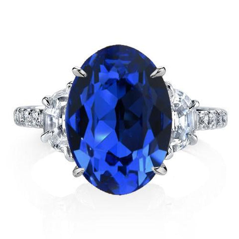 sapphire oval with side stones engagement ring