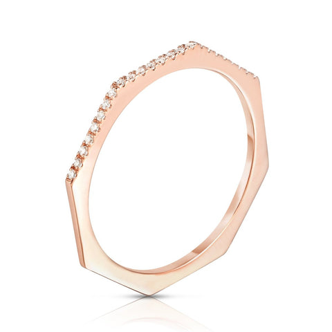 stackable half pave octagon ring