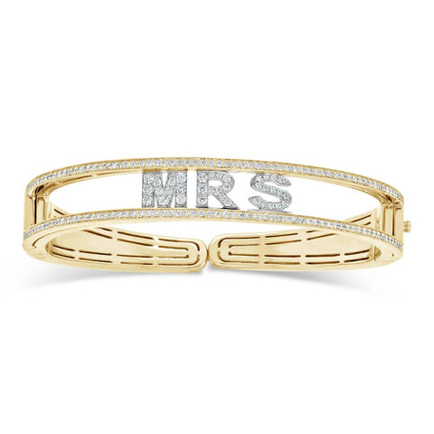 Virtu Jewels Personalized Diamond Letter Cuff