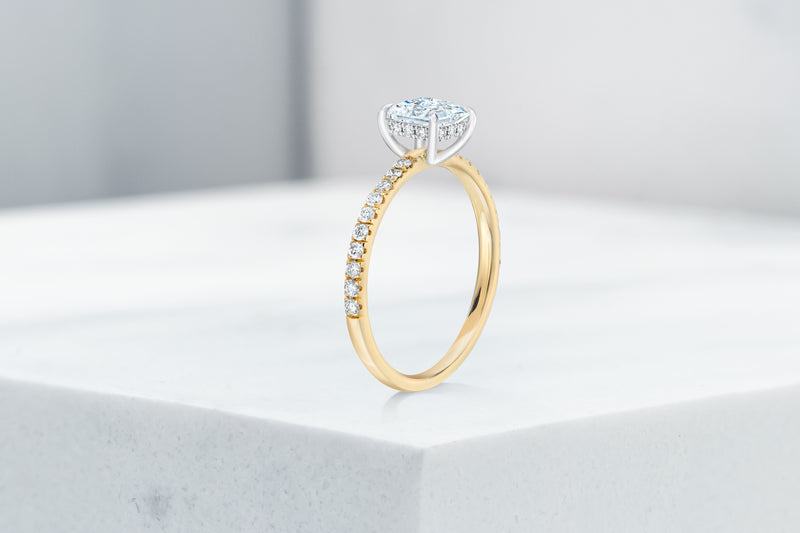 Vow Vow Engagement Rings Princess / 14K Yellow Gold + Platinum Prongs / Hidden Halo Lexington